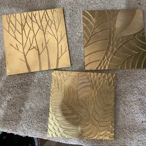 """Set of 3 11x11"""" wooden gold wall hangings"""